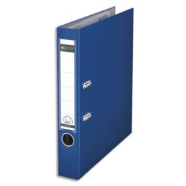 LEITZ Classeur à levier 180 degrés, en carton rembordé de polypropylène, dos 8cm. Coloris Bleu marine photo du produit