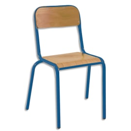 SODEMATUB Lot de 4 chaises scolaire Alexis, hêtre, Bleu, assise 35 x 36 cm, taille 4 photo du produit