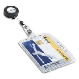 DURABLE Boîte 10 Porte-badges 1 carte de sécurité format portrait ou paysage + enrouleur - Transparent photo du produit