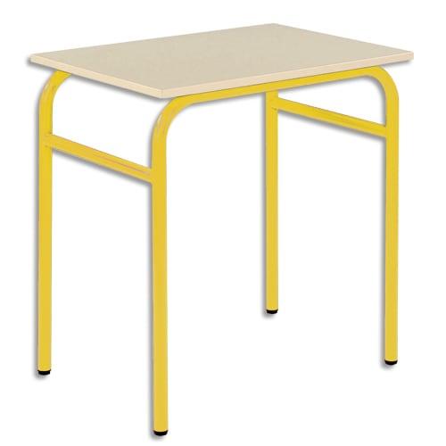 SODEMATUB Lot de 4 tables scolaire monoplace, hêtre, Jaune - Dimensions : L70 x H74 x P50 cm, taille 6 photo du produit Principale L