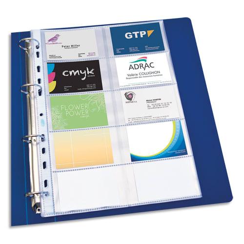 OXFORD Sachet de 10 pochettes perforées cartes de visite en PVC 10/100e. Format A4. Perforation 11 trous photo du produit Principale L