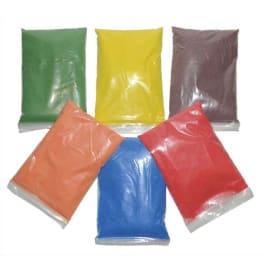 6x500g de sable naturel coloré aux couleur : Rouge-vert-Bleu-Jaune-Orange-Marron + 6 salières vides photo du produit