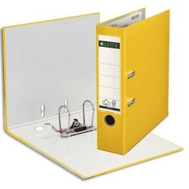 LEITZ Classeur à levier 180 degrés, en carton rembordé de polypropylène, dos 8cm coloris Jaune photo du produit