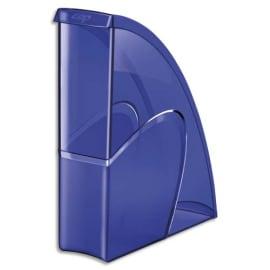 CEP Porte-revues HAPPY en polystyrène translucide - Dimensions H31 x P27 cm, dos 8,5cm. Coloris Bleu photo du produit