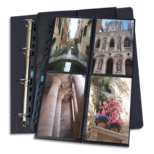 OXFORD Sachet de 10 pochettes perforées en polypro 9/100e. Format A4. 4+4 photos 10x15cm. Noir photo du produit Principale L