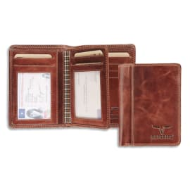 MAVERICK Portefeuille Dalian RFID cuir marron, 2 poches fenêtres, capacité 10 cartes, Format 9 x 12,5 cm photo du produit