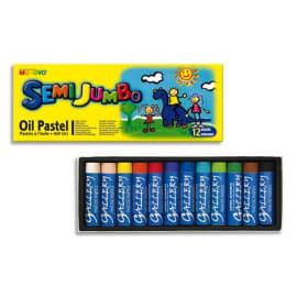 MUNGYO Boîte de 12 pastels à l'huile format jumbo 18 mm couleurs assorties photo du produit