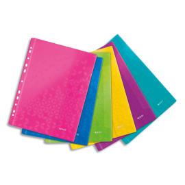 LEITZ Sachet de 6 pochettes perforées WOW en polypropylène A4. Coloris assortis photo du produit