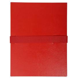 EXACOMPTA Chemise extensible en balacron. Rabat en pied, fermeture par sangle scratch. Coloris Rouge photo du produit