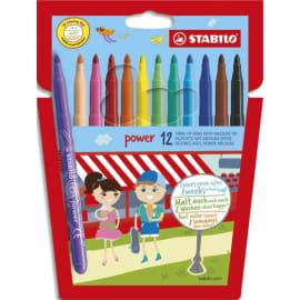 STABILO Pochette 12 feutres de coloriage POWER. Pointe moyenne. Coloris assortis photo du produit