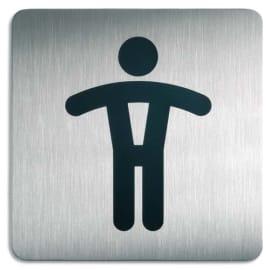 DURABLE Plaque Picto carré Toilettes Hommes en acier brossé inoxydable - 15 x 15 cm - Argent métallisé photo du produit