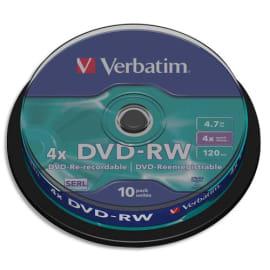 VERBATIM Tour de 10 DVD-RW 4.7GB 4x photo du produit