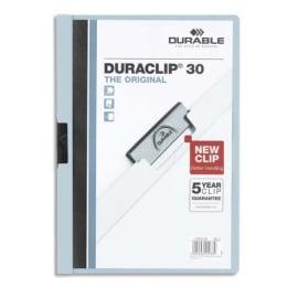 DURABLE Chemise de présentation Duraclip 30 à clip, couverture transparente - 1-30 feuilles A4 - Bleu photo du produit