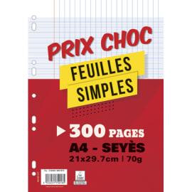 Lot de 300 pages copies simples grand format A4 grands carreaux Séyès 70g perforées photo du produit
