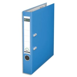 LEITZ Classeur à levier 180 degrés, en carton rembordé de polypropylène, dos de 8cm. Coloris Bleu clair photo du produit
