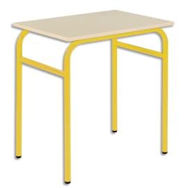 SODEMATUB Lot de 4 tables scolaire monoplace, hêtre, Jaune - Dimensions : L70 x H74 x P50 cm, taille 6 photo du produit