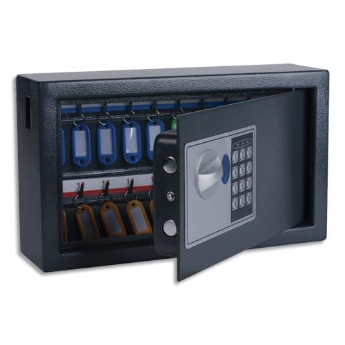 PAVO Armoire à clés électronique Gris foncé, capacité 20 clés - Dimensions : L34,7 x H20,5 x P14,7 cm photo du produit Principale L