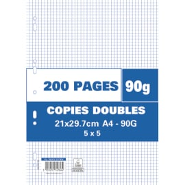 Sachet de 200 pages copies doubles grand format A4 petits carreaux 5x5 90g perforées photo du produit