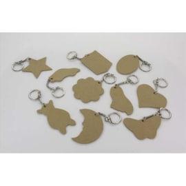 O COLOR Assortiment 10 porte-clés en bois : coeur, étoile, lune, rond … photo du produit