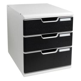 EXACOMPTA Module de classement Modulo Gris lumière Noir 3 tiroirs, en PS, format A4+ L28,8 x H32 x P35 cm photo du produit