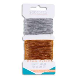 SODERTEX Pack de 2 cartes de Fils Or et Argent - Dimensions : 1 mm x 10 m photo du produit