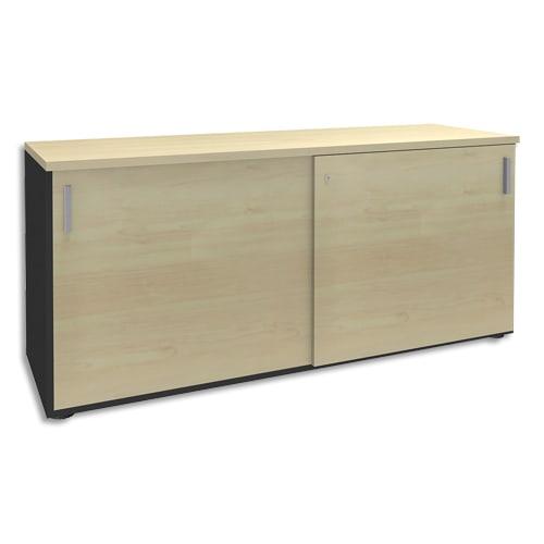 SIMMOB Crédence à portes coulissantes Steely Erable carbone en bois - Dimensions : L160 x H72 x P47 cm photo du produit Principale L