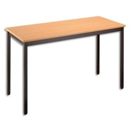 SODEMATUB Table polyvalente rectangulaire 120 x 60 cm hêtre/Noir photo du produit