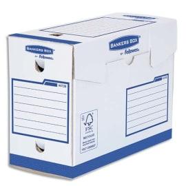 BANKERS BOX Boîte archives dos de 20 cm HEAVY DUTY. Montage manuel, en carton Blanc/Bleu. photo du produit