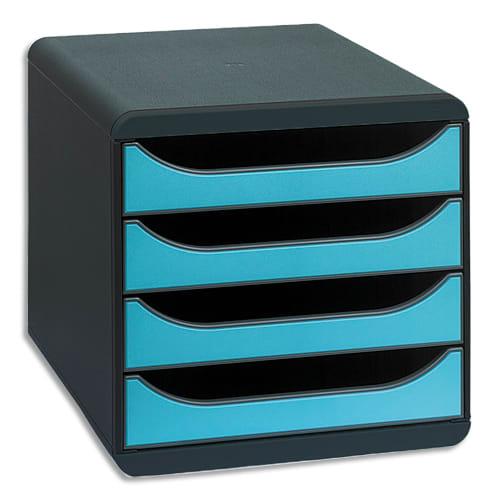 EXACOMPTA Module classement BIG-BOX 4 tiroirs Noir/Bleu turquoise en PS format A4+ L27,8xH26,7xP34,7 cm photo du produit Principale L