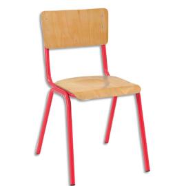 SODEMATUB Lot de 4 chaises scolaire Maxim, hêtre, Rouge, assise 37 x 39 cm, taille 5 photo du produit