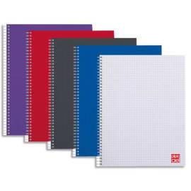 PLEIN CIEL Cahier spirale 14,8x21 100 pages petits carreaux 5x5 70g. Couverture polypro assortie photo du produit