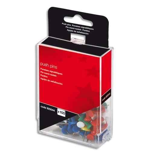 Boîte de 100 push pins Coloris opaque assortis. photo du produit Principale L