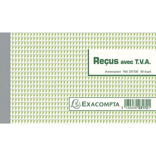 EXACOMPTA Manifold Reçus avec T.V.A 10,5x18cm - 50 feuillets dupli autocopiants photo du produit Principale L