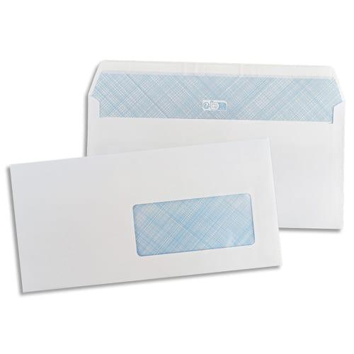 PERGAMY Boîte de 500 enveloppes Blanches 75g DL 110X220 mm fenêtre 45x100 mm auto-adhésives photo du produit Principale L