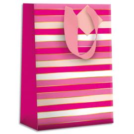 DRAEGER Sac cadeau papier grand format L26XH33cm Rayures Roses. Finition or à chaud. Poignées en ruban photo du produit