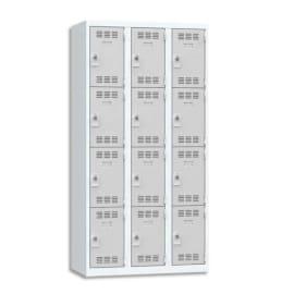 PIERRE HENRY Vestiaire 4 Cases + 3 Colonnes - Dimensions : L90 x H180 x P50 cm Gris perle photo du produit