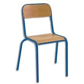 SODEMATUB Lot de 4 chaises scolaire Alexis, hêtre, Bleu, assise 35 x 36 cm, taille 6 photo du produit