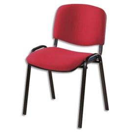 Chaise de conférence Iso Classic en tissu polyfibre Rouge, structure 4 pieds en métal époxy Noir photo du produit