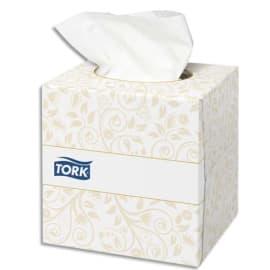 TORK Boîte Cube de 100 Mouchoirs 2 plis ouate extra douche Blanche - Format L21 x P20 cm photo du produit