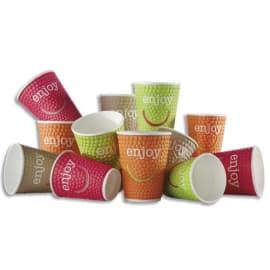 HUHTAMAKI Sachet de 30 gobelets DW9 Enjoy 20cl 4 coloris boissons chaudes en carton - H8,8 cm, Diam. 8 cm photo du produit