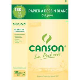 CANSON Pochette de 10 feuilles de papier dessin C A GRAIN 180g A3 Ref-27106 photo du produit