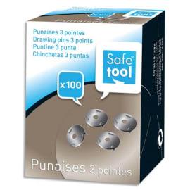 WONDAY Boîte de 100 punaises 3 pointes acier nickelé photo du produit