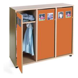 MOBEDUC Vestiaire pour 6 enfants 104 x 40 x 101 cm, Orange photo du produit