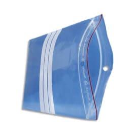 Boîte de 1000 sachets plastique zip transparent bandes Blanches 60microns H32cm ouverture 23cm photo du produit