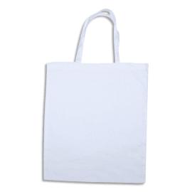 SODERTEX Lot de 12 grand Sac shopping Blanc en coton, 100 g/m² - Format : 37 x 42 cm photo du produit