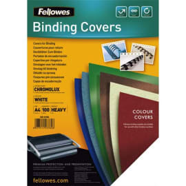 FELLOWES Boîte de 100 plats de couvertures chromolux A4 Blanc 5378006 photo du produit