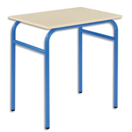 SODEMATUB Lot de 4 tables scolaire monoplace, hêtre, Bleu - Dimensions : L70 x H74 x P50 cm, taille 6 photo du produit