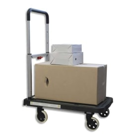 WONDAY Chariot pliable en aluminium Noir roues escamotables, réglable sur 3 hauteurs L68 x H92 x P41 cm photo du produit