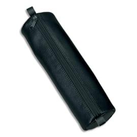 JUSCHA Trousse ronde en cuir 21x6cm. Coloris Noir photo du produit