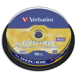 VERBATIM Tour de 10 DVD+RW 4,7GB vitesse d'écriture 10x 43488 photo du produit
